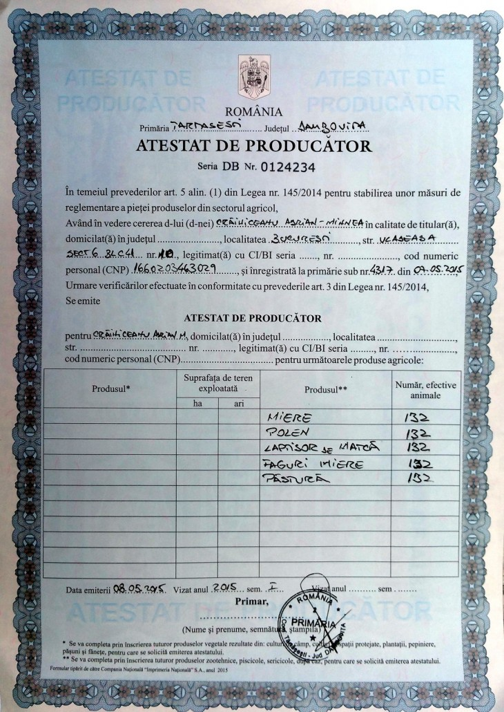 Certificari – Stupina Crainiceanu